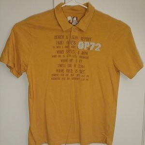 OP Ocean Pacific Polo Shirt L Large yellow VTG